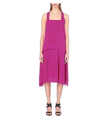 KENZO Buckle-Detail Pleated Trapeze Dress. #kenzo #cloth #dresses