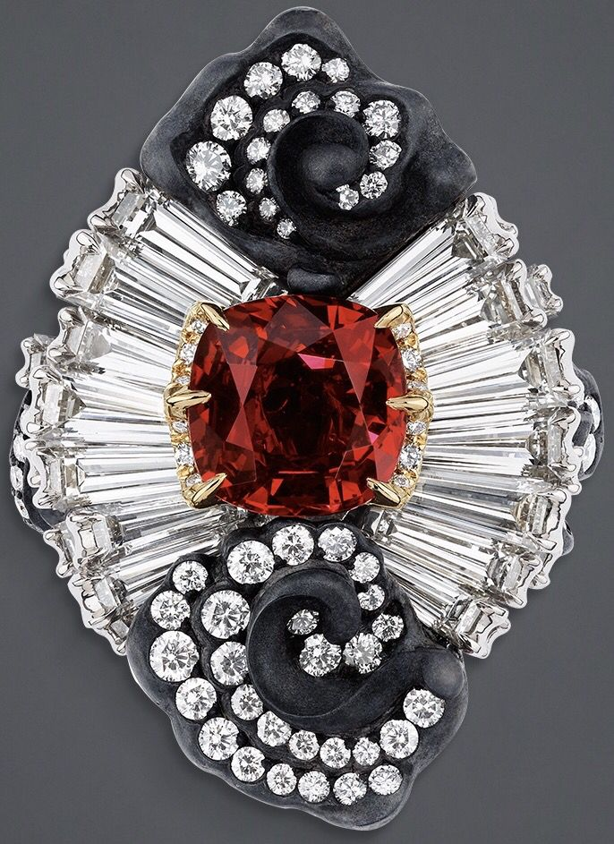 """DIOR. """"Appartements de Mesdames Marqueterie"""" ring in yellow, white and pink gold, scorched silver, diamonds and ruby."""
