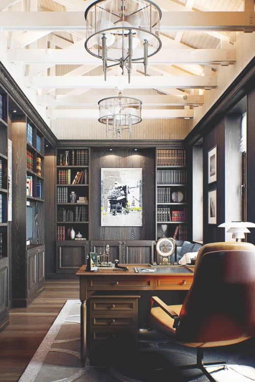 This office/library is the perfect spot for a power meeting. This space is a cut above w/ its dark wood colors complemented by a light wood ceiling & unique chandeliers!