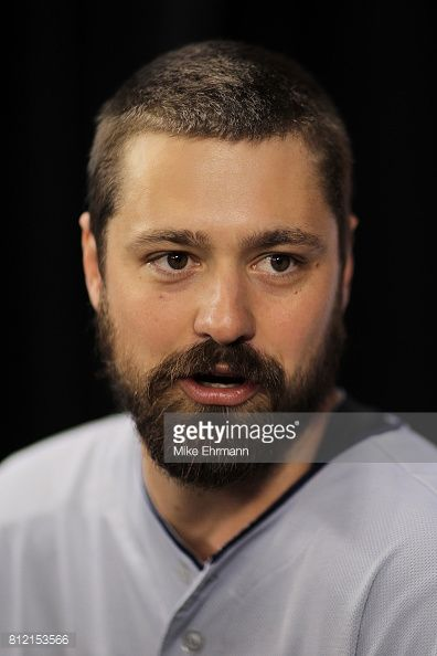 Andrew Miller of the Cleveland Indians and the American League speaks with the media during Gatorade All-Star Workout Day ahead of the 88th MLB All-Star Game at Marlins Park on July 10, 2017 in...
