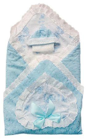 Арго Комплект на выписку арго, 8 пред  лето, синтепон пл.100 (голубой)  — 2184р.  Рекомендуемый возраст: 0мес Комплектация: Одеяло, уголок, распашонка нарядная, чепчик нарядный, пеленка из ситца, распашонка из ситца,косынка,чепчик из ситца Сырье: хлопок 100%