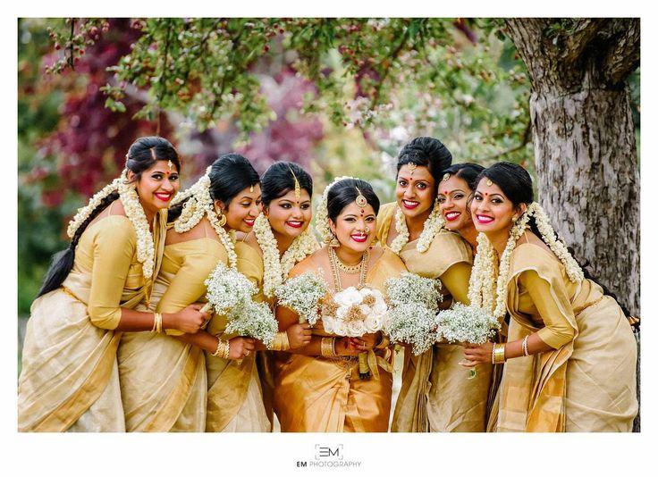 South Indian bride. Temple jewelry. Jhumkis.Gold silk kanchipuram sarees.Braid with fresh jasmine flowers. Tamil bride. Telugu bride. Kannada bride. Hindu bride. Malayalee bride.Kerala bride.South Indian wedding.Bridesmaid sarees.