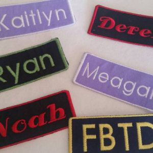 Custom Embroidered Name Patches 1 1/2 x 3 3/4 inches / Biker Tags / Iron On / Name Tag / Bookbag Tag