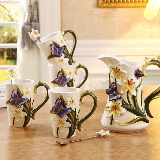 9 шт. Мода деревенский чашка кофе набор свадебные подарки послеобеденный чай установить Цветочные эмаль расписной фарфор питьевой набор
