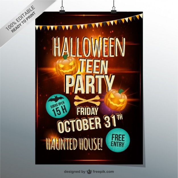 Halloween Teen Party Flyer Free Vector Templates