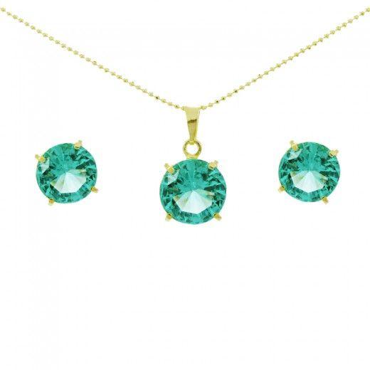 Conjunto colar e brinco com pedra turmalina verde