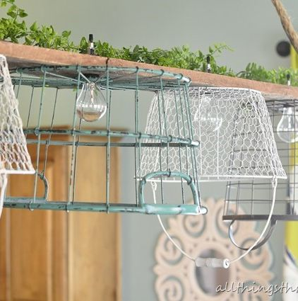 1000 images about decor lamp light on pinterest industrial lamp shades and wire baskets - Wire basket chandelier ...