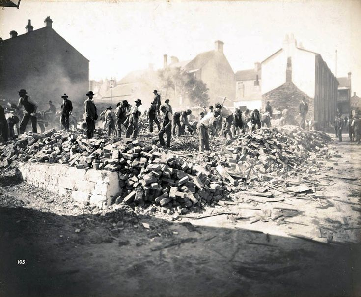 Demolition of Exeter Place,Surry Hills,Sydney in 1900 during the Big Cleanse for the Bubonic Plague.