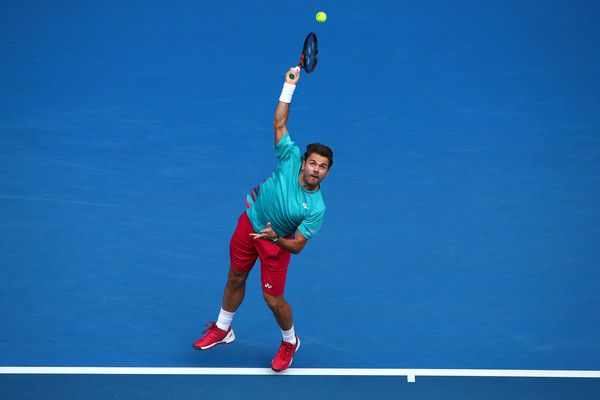 Stan Wawrinka of Switzerland serves in his third round match against Viktor Troicki of Serbia on day five of the 2017 Australian Open at Melbourne Park on January 20, 2017 in Melbourne, Australia.