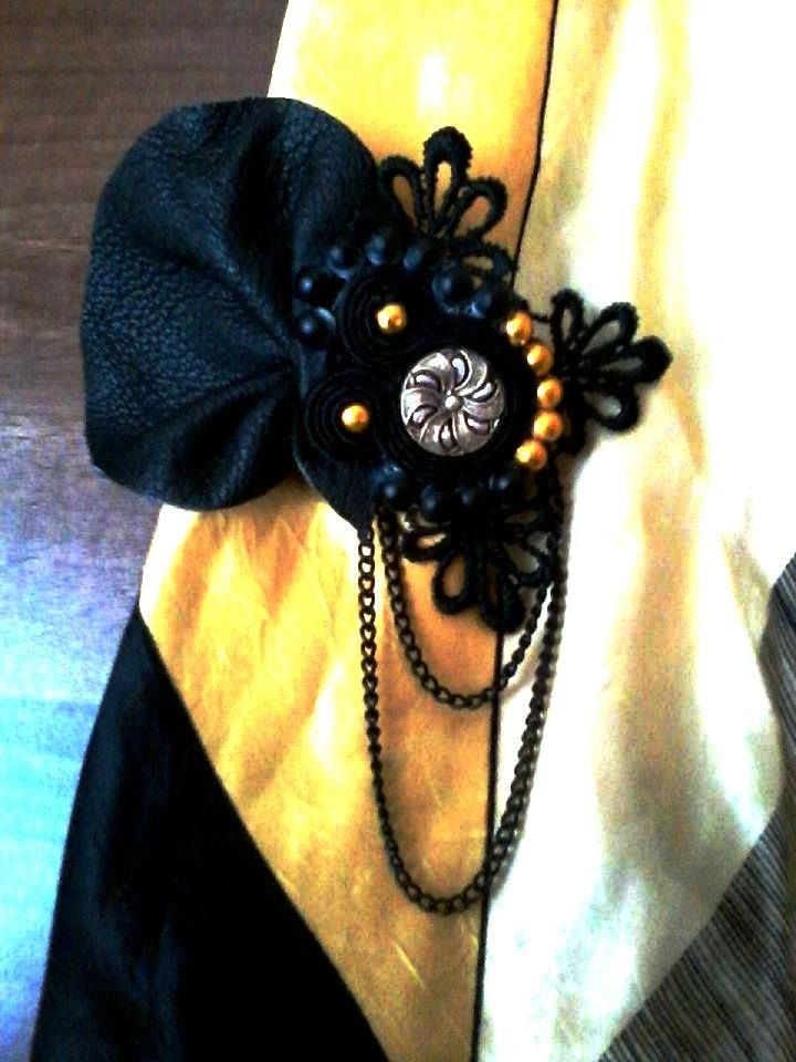 Leather soutache brooch with golden beads, vintage cabochon and lace.