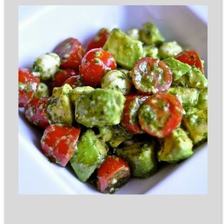 Mozzarella, Tomato and Avocado Salad. Goes great with pita bread or a garden salad!