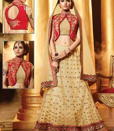 Buy Cream embroidered net unstitched lehenga choli lehenga-choli online