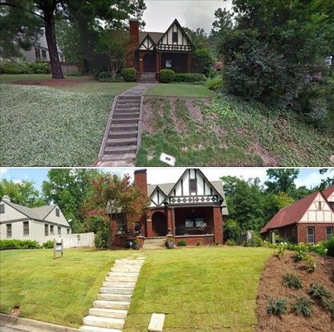 Before U0026 After   Andys Landscape Service Of Birmingham, AL Full Front Design  U0026 Install