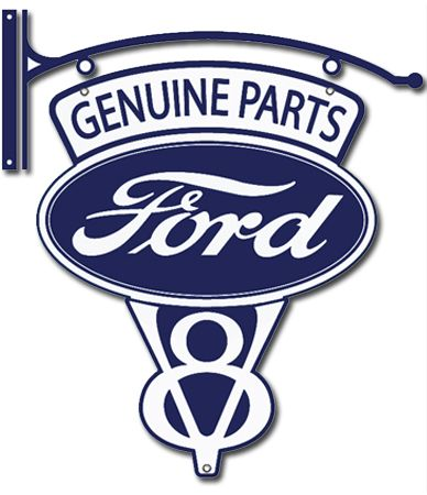 """281 Collectibles - 24"""" X 32"""" Vintage Ford Parts V-8 Metal Sign"""