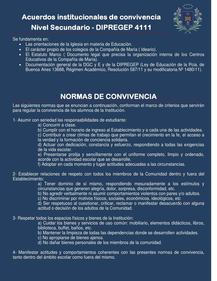 Nivel Secundario-Acuerdos institucionales de convivencia