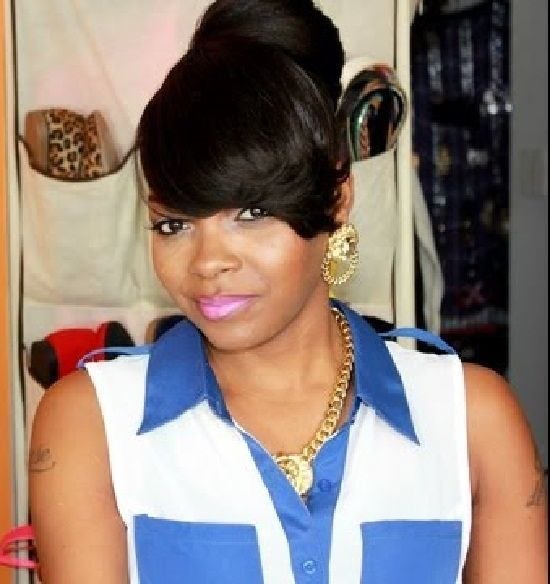 ponytail styles with bangs for black women