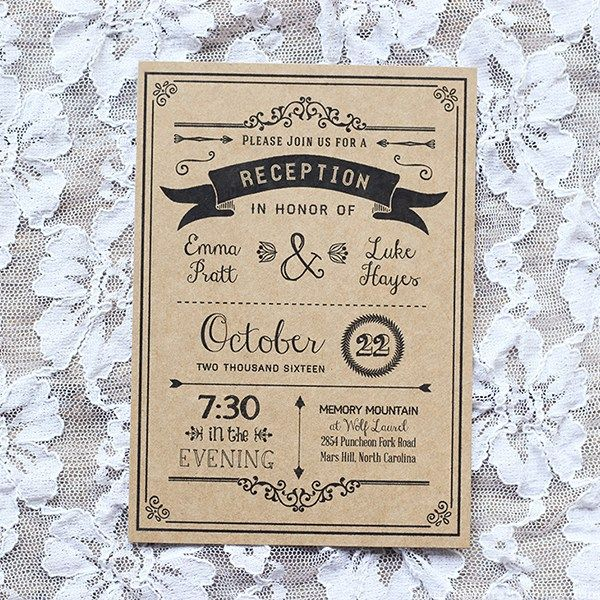 Black DIY Reception Only Invitation – Sample Printed on Kraft Paper