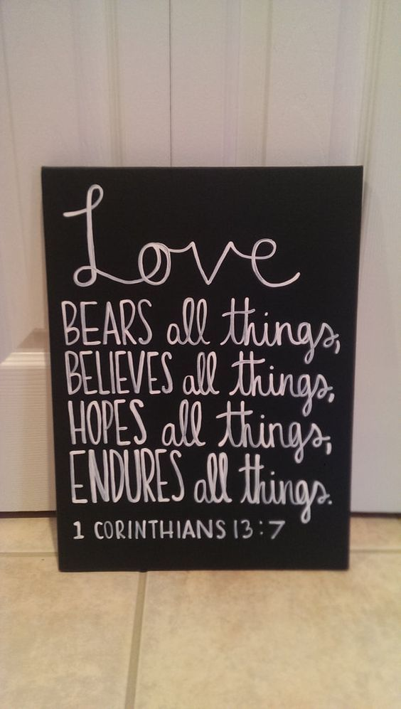 1st Corinthians Bible Verse Canvas Love Bears All Things