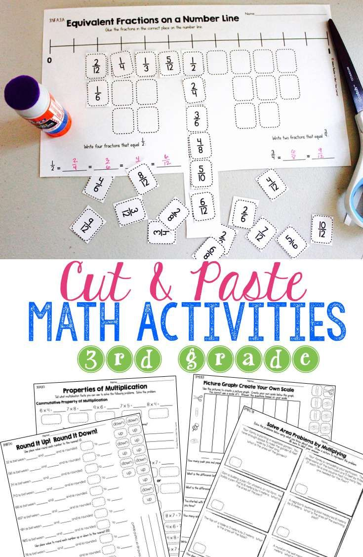 Engage students in no-prep hands-on activities that get them thinking about math.  These Cut & Paste Math Activities for Third Grade help students strategically reason through which answer is correct.  Students also have to explain their thinking and write in answers.  It's not just matching!