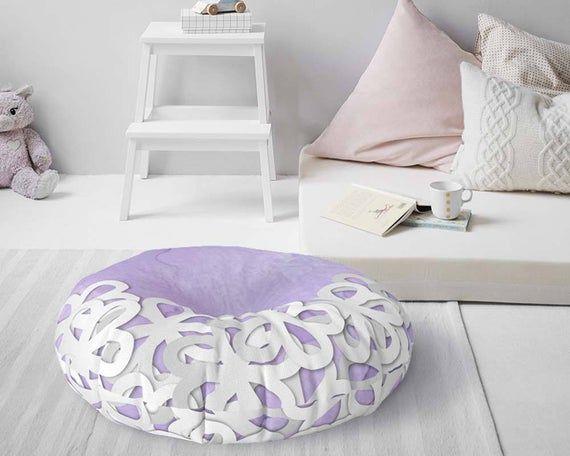 Floral Floor Cushion Purple Floor Seating Meditation Pouf Yoga