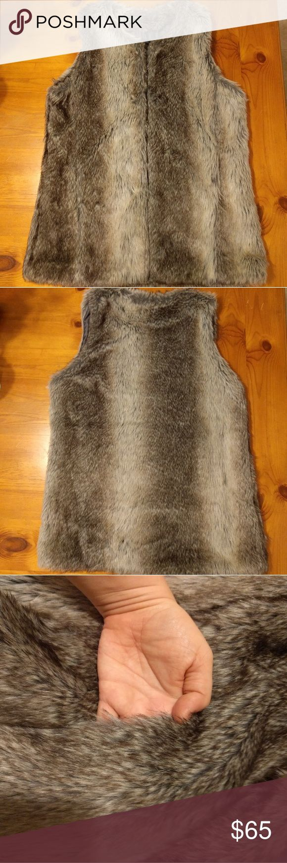 INC Faux Fur Vest New without tags, Macy's INC International Concepts, size M/L faux fur vest! Has two front pockets and secures with three hidden hook and eye closures spanning bust and waist. Vest is lined and very warm! INC International Concepts Jackets & Coats Vests