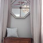 bedrooms - Valspar - Bonsai - Ikea AINA Curtains gray walls Ballard Designs octagon mirrored tiled mirror jute rug gray blue geometric pillow bench