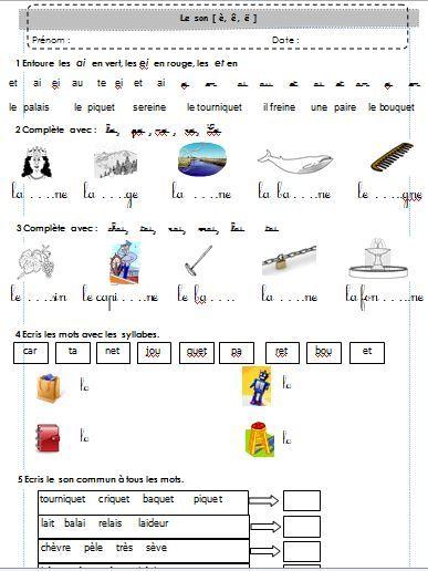 Exercices sur les sons : phonologie et combinatoire CP période 3 : janvier février