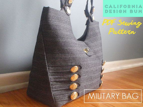 **PDF SEWING PATTERN, NOT a finished handbag. ** Nothing is as polished as a uniform with shiny buttons. This modern handbag was inspired by that sharp military look. Great for laptop carrier, weekend bag, baby bag, diapers, toys, carry-on bag, and farmers market tote. Create different looks by varying the fabric, such as charcoal black or navy blue with silver buttons, stripes, army green or khaki with wood buttons, or bold red fabric with brass buttons. For a cleaner look, omit the bars…