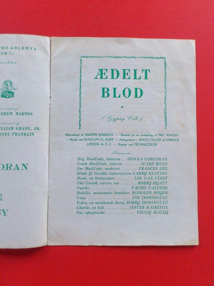 "Danish movie program.""Gypsy Colt"" 1954.Ward Bond.Donna Corcoran.Frances Dee | eBay"