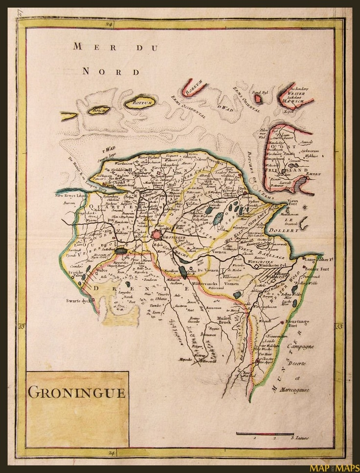 Groningen, Drenthe Holland antique map Le Rouge 1756.  The Voorhees family originated in Hees, Ruinin,  Drenthe, Holland.