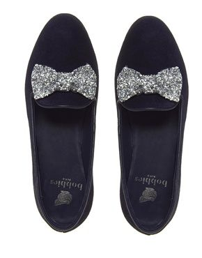 sequin bow loafers