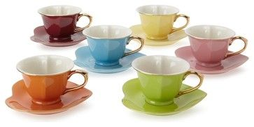 Classic Coffee & Tea Inside Out Heart Cups & Saucers contemporary cups and glassware