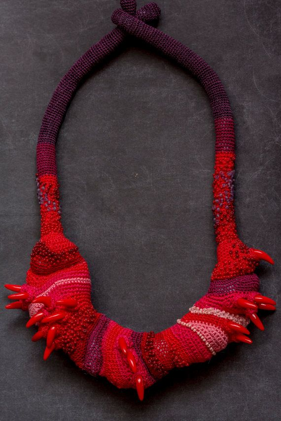 Red Crochet Necklace /Untitled necklace by LidaAccessories on Etsy