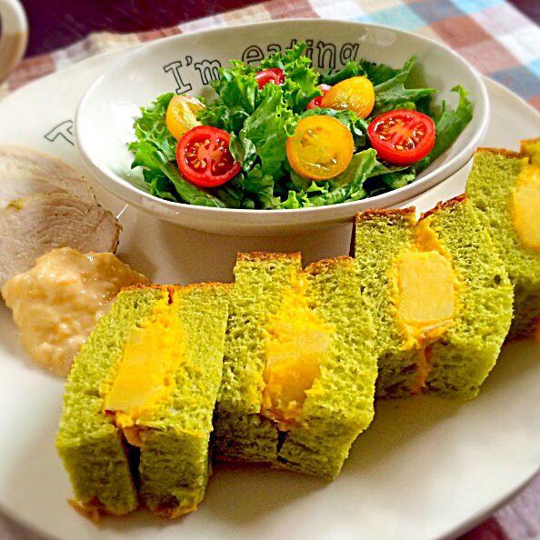 小松菜食パンでサンドイッチ(*´ڡ`●) - 16件のもぐもぐ - かぼちゃとサツマイモのサラダサンドイッチ by ayu3cafe