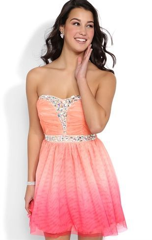 Ombre Strapless Short Prom Dress with Spliced Bodice and Stone Waist