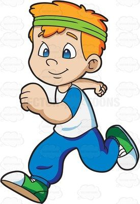 A boy jogging happily