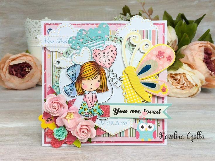 Kolorowa kartka dla dziewczynki       Ach, jak ja uwielbiam robić wesołe karteczki dla dziewczynek.   Kolory, warstwy, wzory, tego nig...