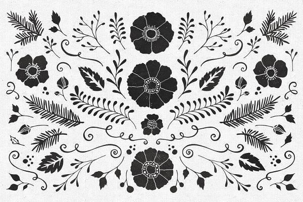 85 Hand Sketched Floral Vectors by Callie Hegstrom on @creativemarket