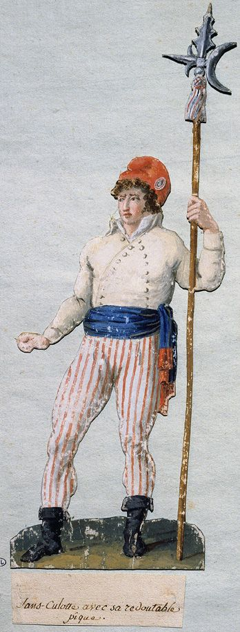 Sans Culottes were made up of the working class men in support of the French Revolution. They normally wore trousers, carmagnole jackets, red waistcoats, clogs, and red peasant hats.