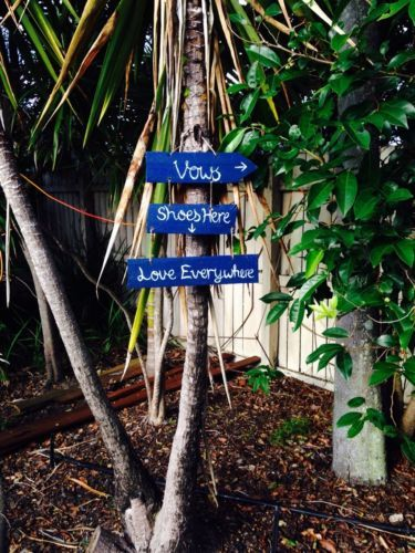 Beach Wedding Sign - Vows There, Shoes Here, Love Everywhere