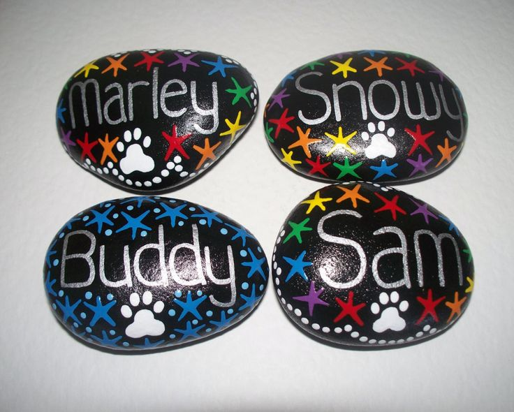 Personalised Pet Memorial stone, pebble, Hand Painted, pet grave marker, tribute, dog, cat or any pet by CornishMaidPebbles on Etsy