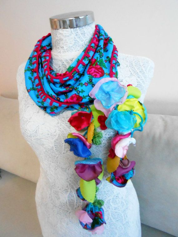 Blue triangle scarf Blue scarf Ethnic Turkish by Nazcolleccolors