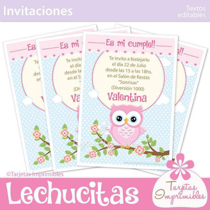 Búho rosa para nena tarjetas de invitación para imprimir texto editable pdf de…