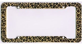 license plate renewal frame leoprad  | Product Information - Leopard Print License Plate Frame