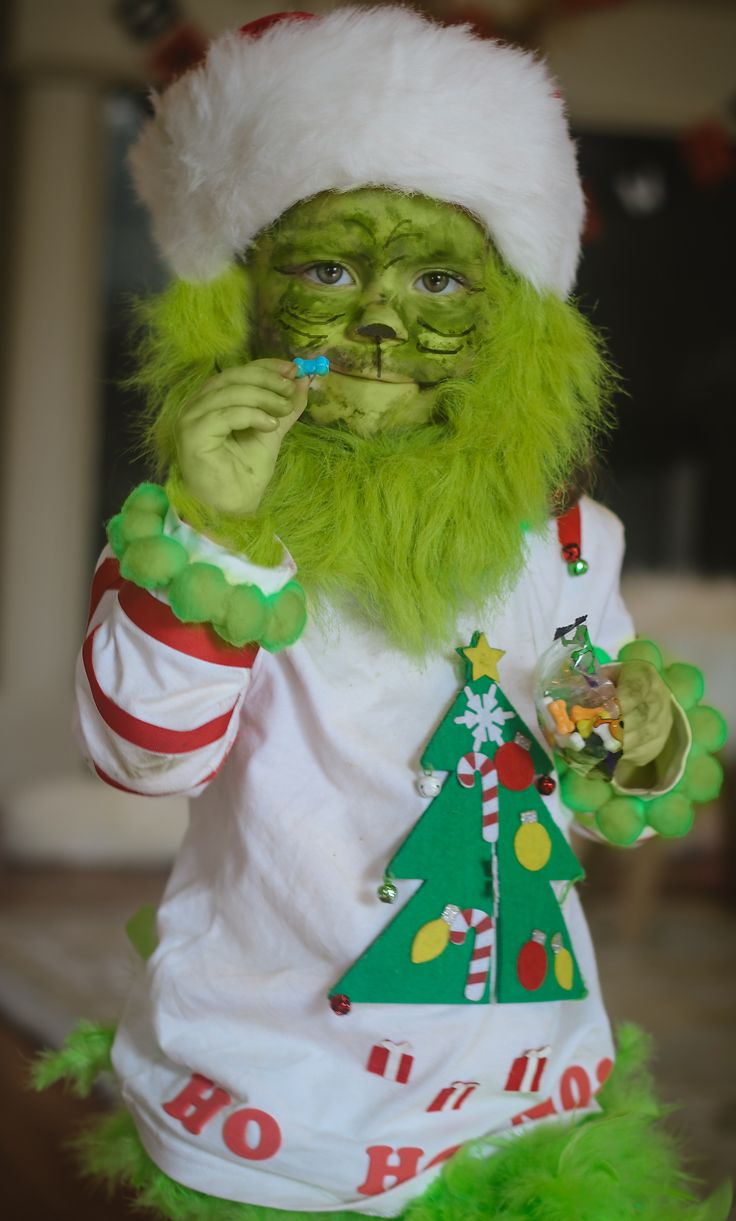 Toddler Grinch Costume, Baby Grinch, Halloween DIY