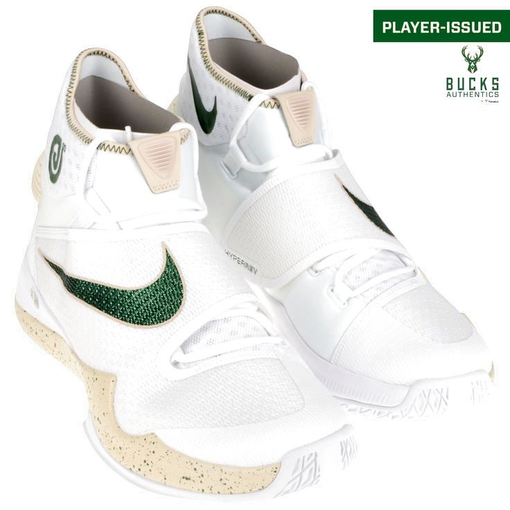 O.J. Mayo Milwaukee Bucks Fanatics Authentic Player-Issued #3 White and Green Nike Shoes from the 2015-2016 Season - Size 14 - 1 - $249.99