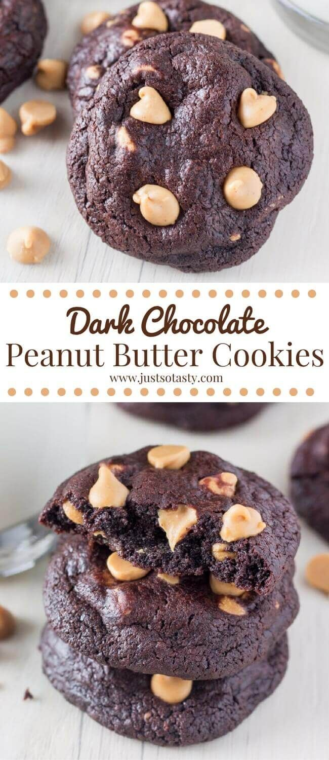 These fudgy dark chocolate peanut butter cookies are soft, chewy & filled with peanut butter chips. So decadent & perfect for chocolate lovers