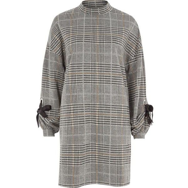River Island Grey check jersey eyelet tie cuff swing dress (3,520 DOP) ❤ liked on Polyvore featuring dresses, grey, shift dresses, women, swing dresses, trapeze dresses, long-sleeve shift dresses, high neck long sleeve dress and shift dress