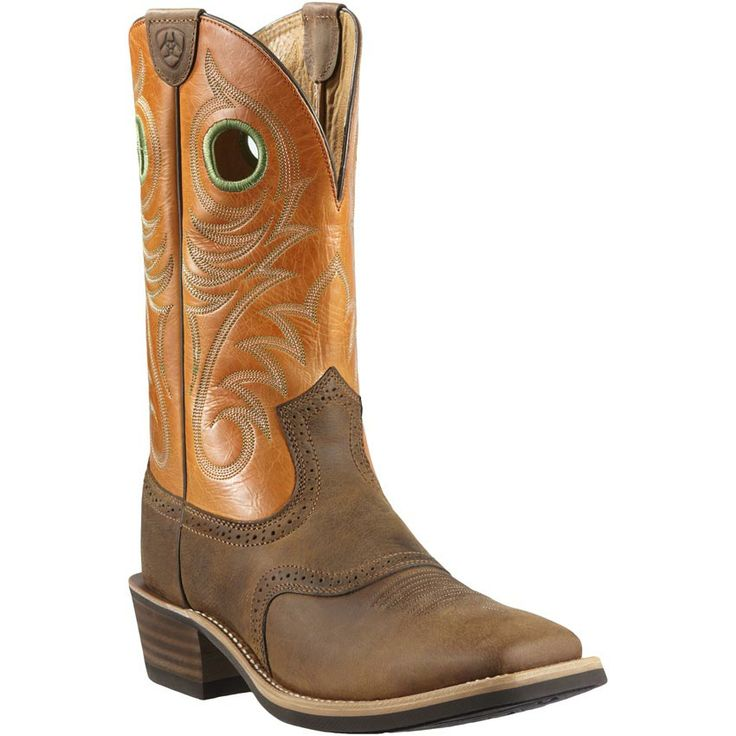 Ariat® Heritage Roughstock™ Men's Distressed Brown with Orange Top Square  Toe Western Boots