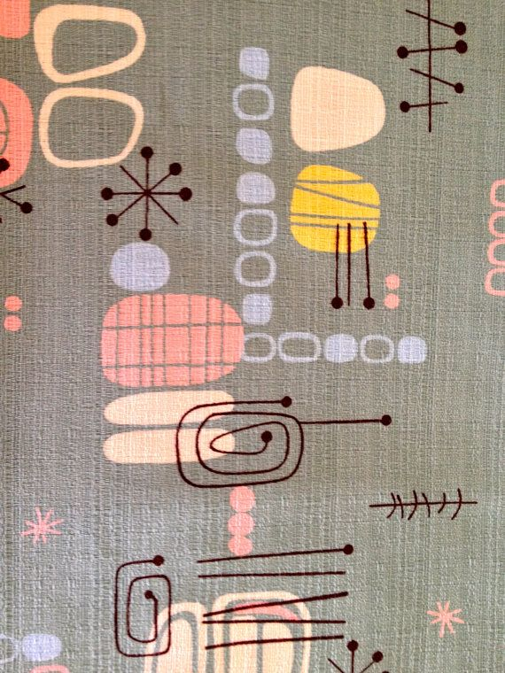 SALE // Spacely Sprocket Retro Atomic Barkcloth Fabric by Robert Kaufman //CottonYardage //Abstract Eames Era //New Stock on Etsy, $41.00